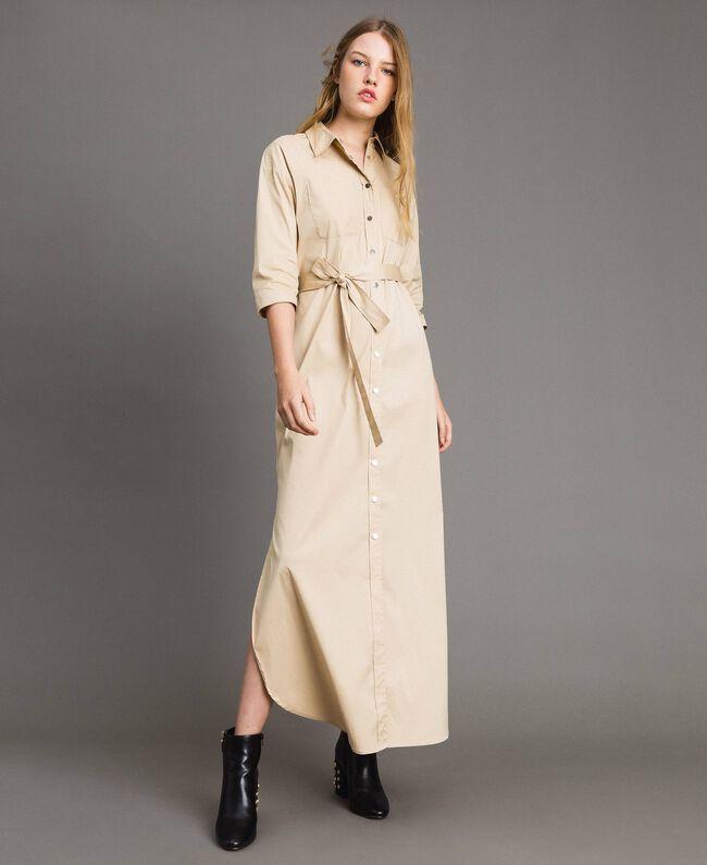 Langes Hemdblusenkleid aus Popeline Porzellan Beige Frau 191MP2210-03