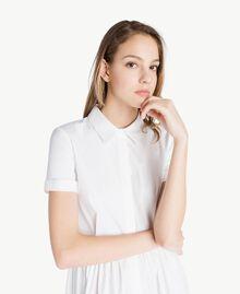 Robe chemisier popeline Blanc Optique / Noir Femme YS82FC-04
