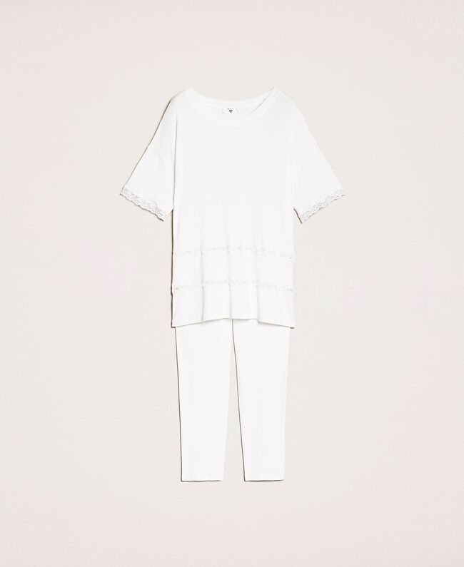 Ribbed pyjamas with lace Ivory Woman 201LL25BB-0S