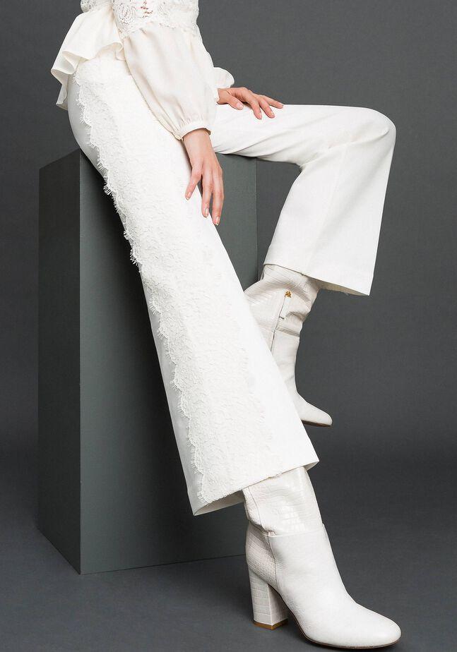 Pantalon cropped avec dentelle