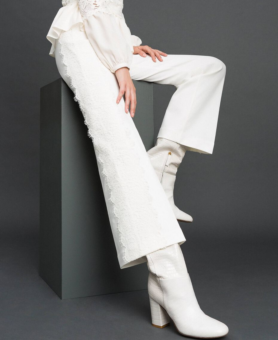 Cropped trousers with lace White Snow Woman 192TT2210-01