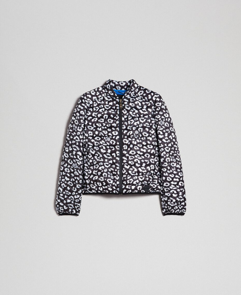 Ultra-light puffer jacket, animal print Black / Lily Animal Print Woman 192MP2100-0S