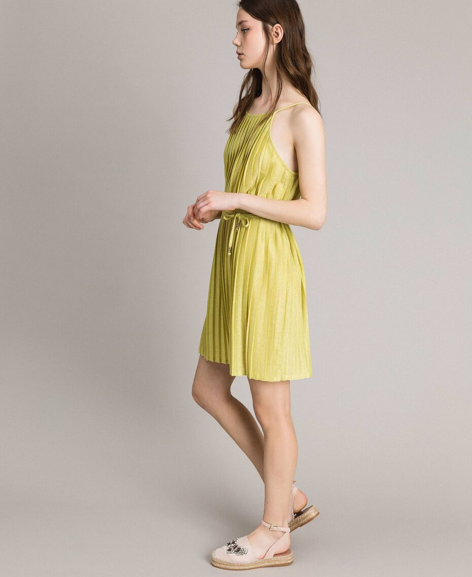 "Pleated lurex dress ""Lemon Juice"" Yellow Woman 191LB23FF-01"