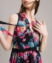 Georgette top with ribbon and flounce Black Flowers Print Woman 191MP2332-04