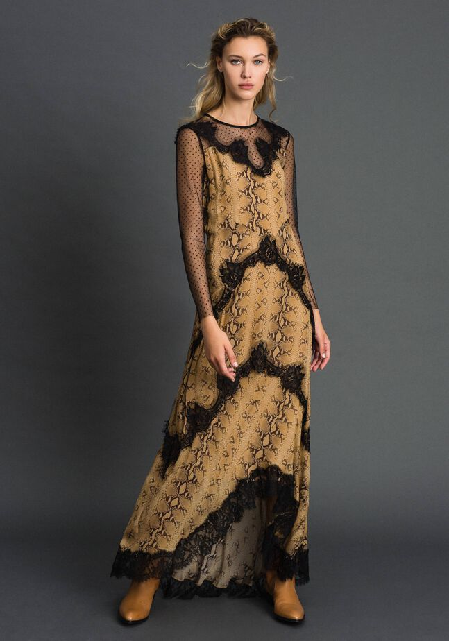Animal print georgette long dress