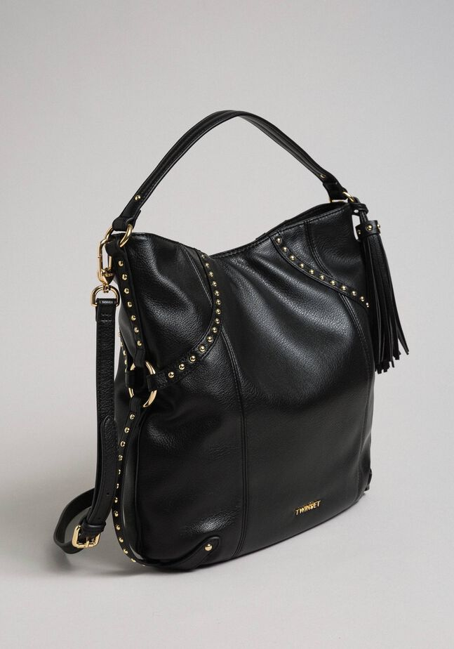 Faux leather hobo bag with studs
