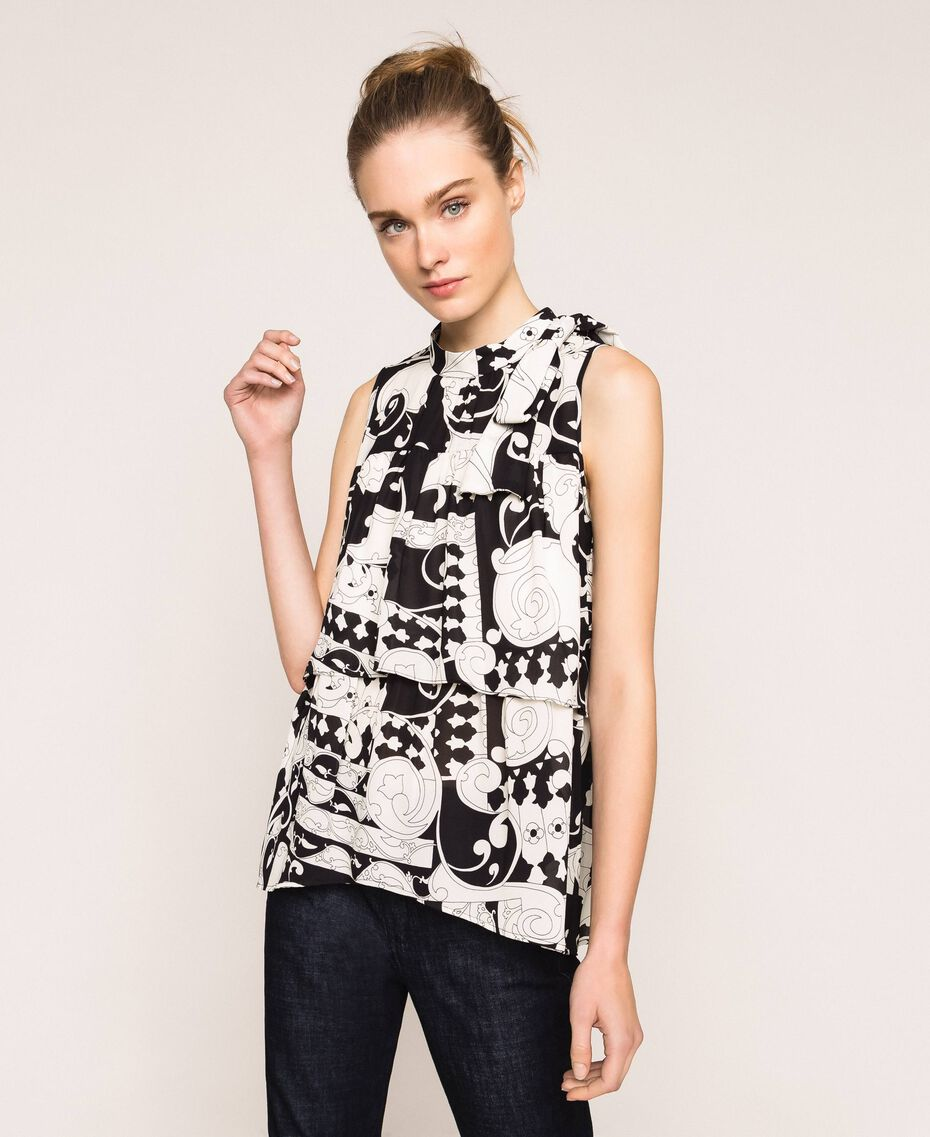 Printed georgette top with flounces White Liberty Print / Black Woman 201ST213F-01