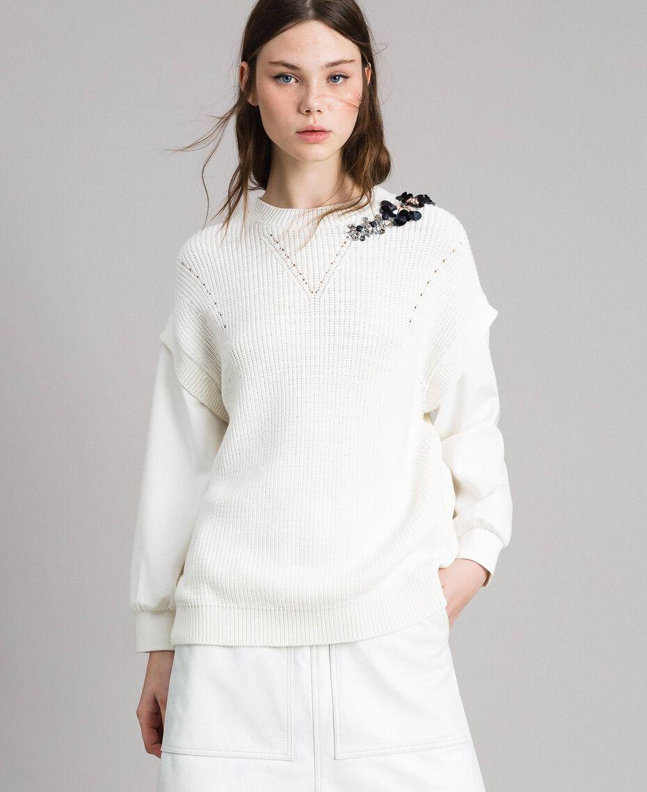 Stricksweatshirt aus Baumwolle mit Mailand-Stich Seidenweiß Frau 191TP2071-01