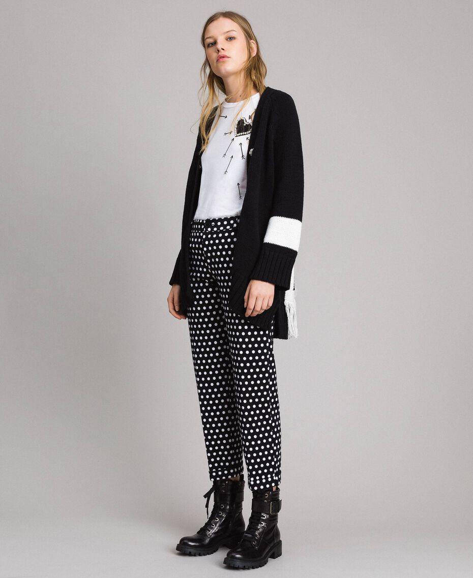 Pantalons cigarette à pois Bicolore Noir / Blanc Femme 191MP2362-0T