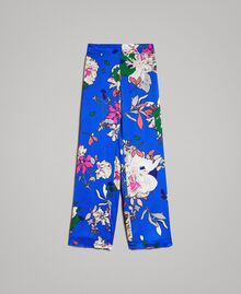 Floral satin palazzo trousers Wind Flower Cornflower Blue Print Woman 191TP2472-0S