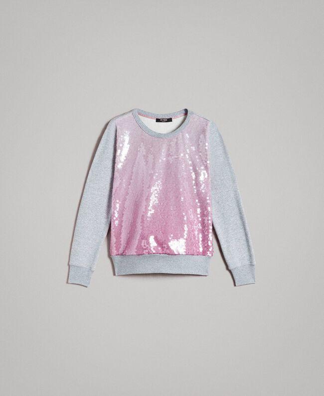 Fadeout sequin sweatshirt Two-tone Melange Light Grey / Hydrangea Pink Woman 191MP2073-0S