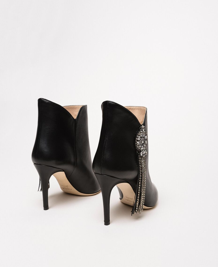 Nappa leather ankle boots with jewels and fringes Black Woman 201TCP030-03