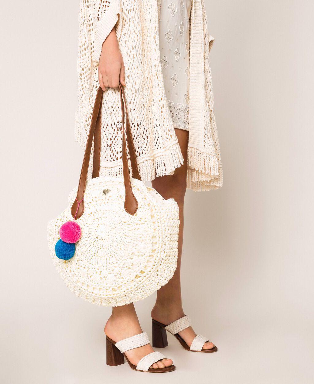 Raffia beach bag with pompoms
