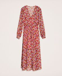 """Floral chiffon full-length gown """"Jasper"""" Red Pansies Print Woman 201TP2545-0S"""