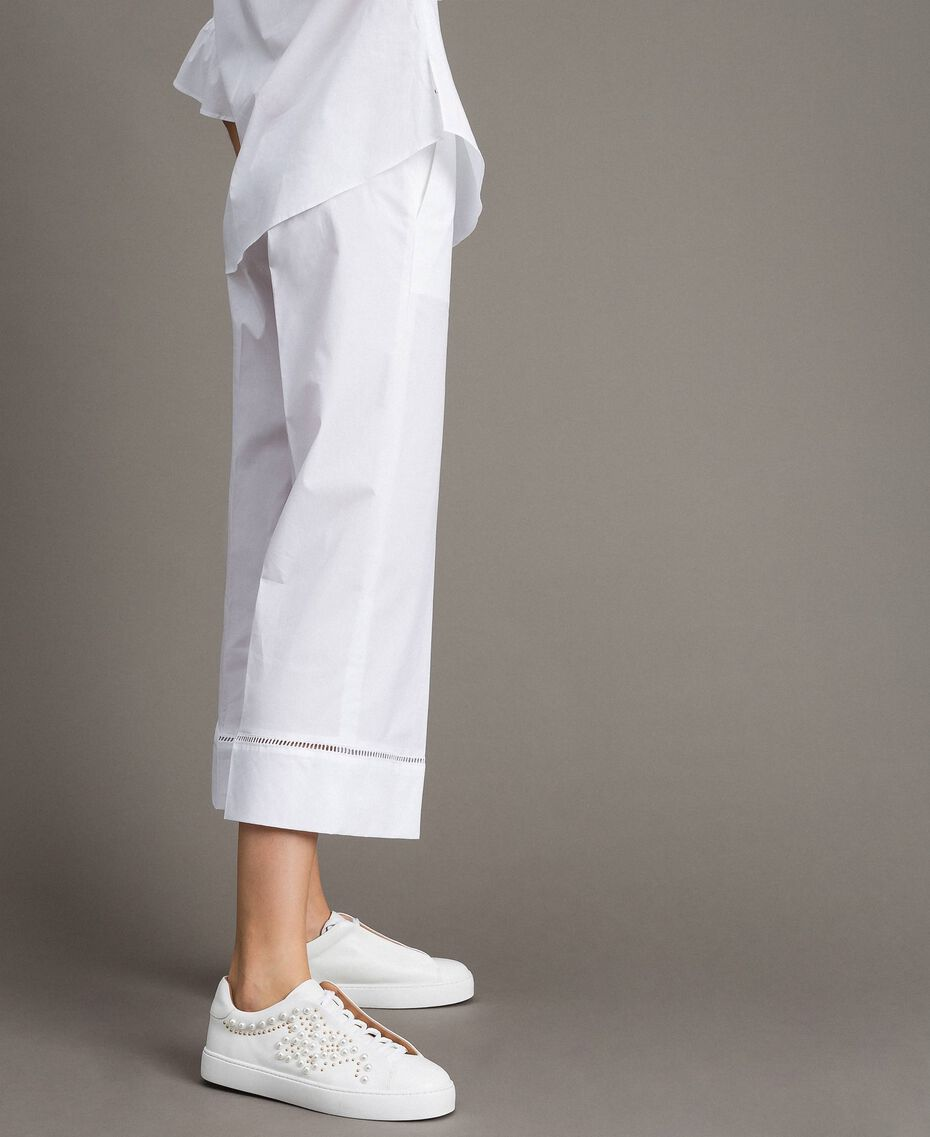 Poplin trousers with embroideries White Woman 191TT2244-02