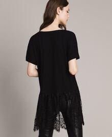 Maxi t-shirt avec dentelle Blanc Femme 191TP260G-03