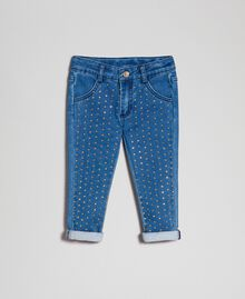 Jeans effect skinny trousers with studs Mid Denim Child 192GB2150-01
