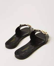 Sandales slide en cuir avec logo Noir Femme 211TCT014-04