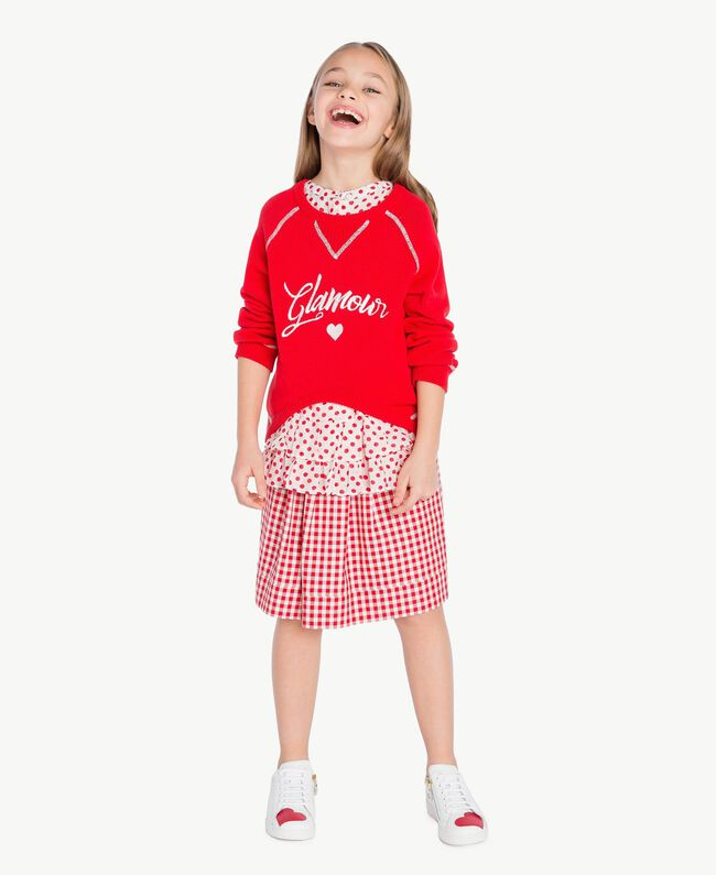 Pull broderie Bicolore Rouge Grenadier / Blanc Papyrus Enfant GS83FA-06