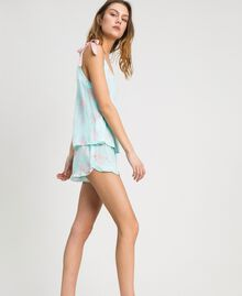 Floral jacquard short pajamas Mousse Blue Leaf Print Woman 191LL2FCC-02