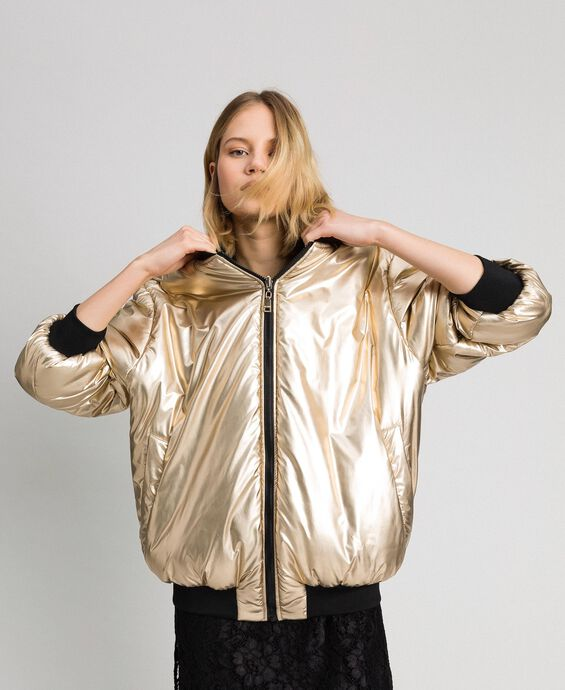 Reversible bomber jacket in technical satin