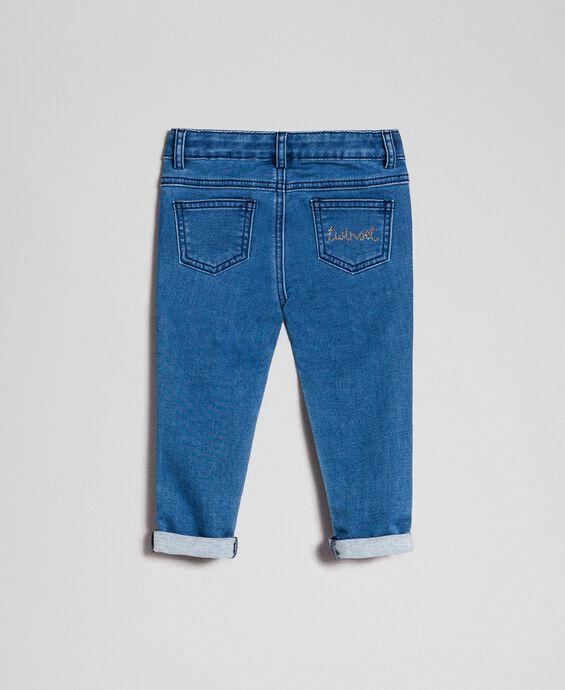 Pantalon skinny effet jean avec clous