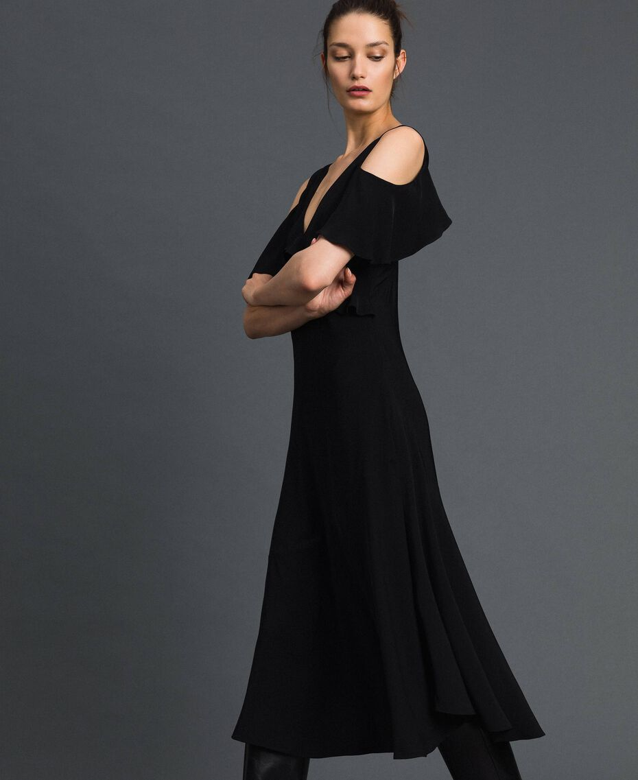 Georgette long dress with flounce Black Woman 192TP2385-02