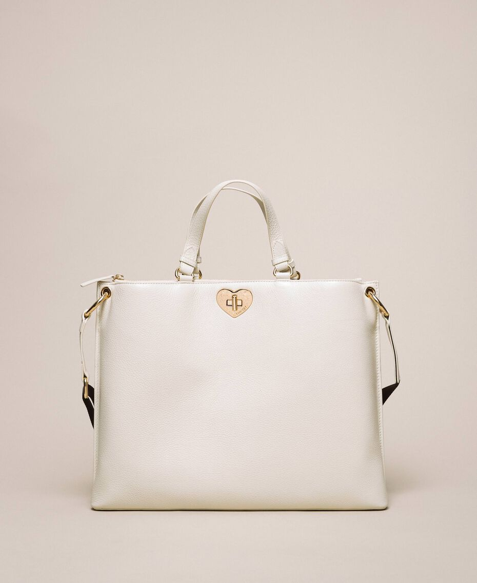 Large leather shopper with heart White Snow Woman 201TA7052-02