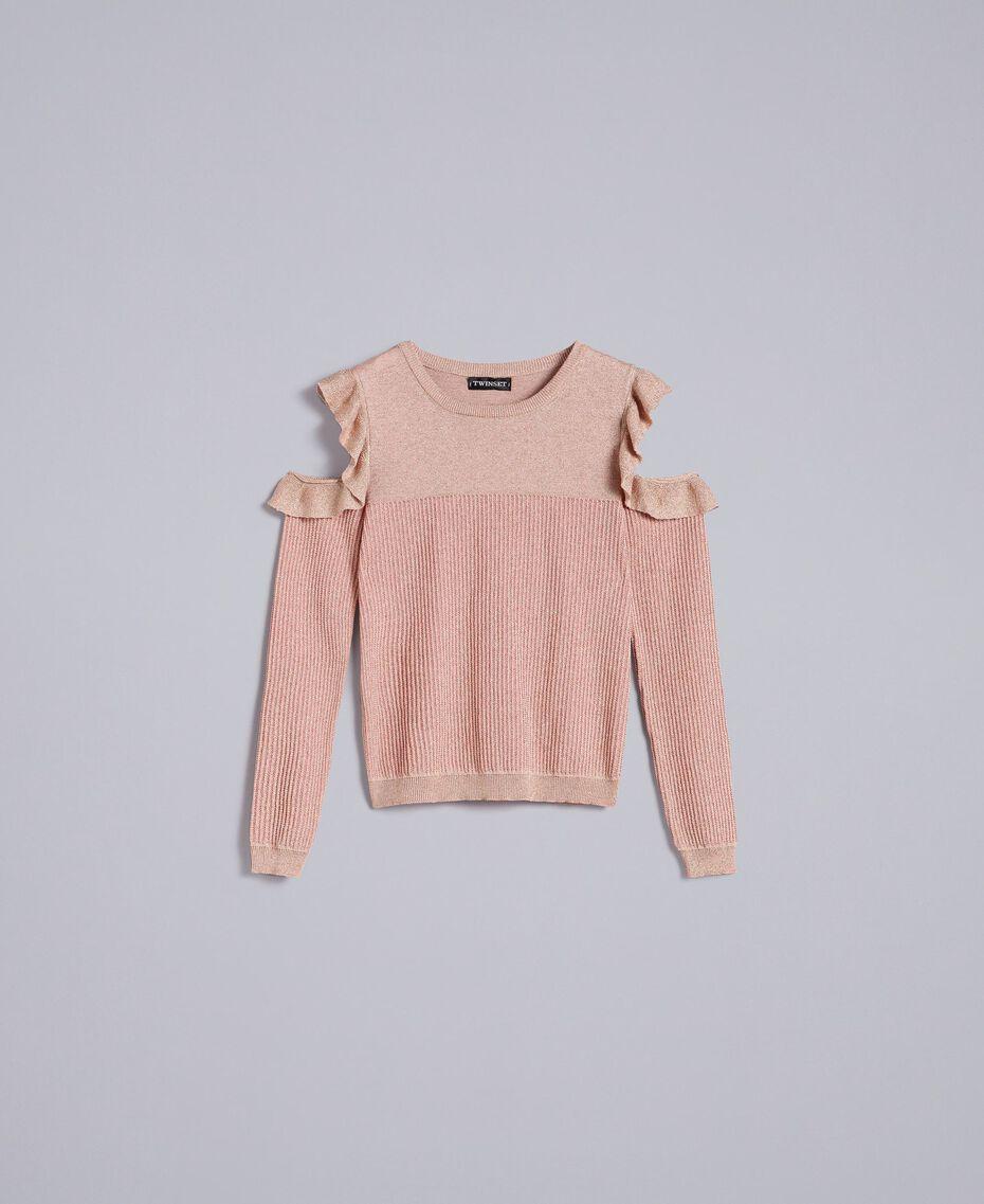 Pullover aus Lurexjacquard mit Rüschen Hellrosa / Lurex Frau PA834E-0S
