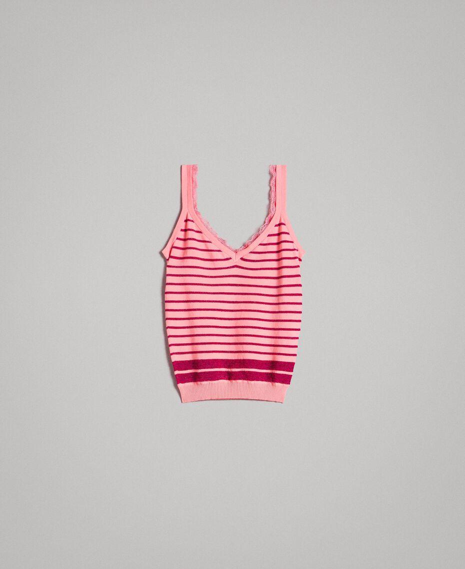 "Viscose and lurex striped top ""Wild Rose"" Pink / ""Anemone"" Fuchsia Lurex Striping Woman 191TP3234-0S"