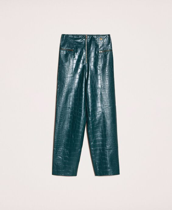 Crocodile print faux leather trousers