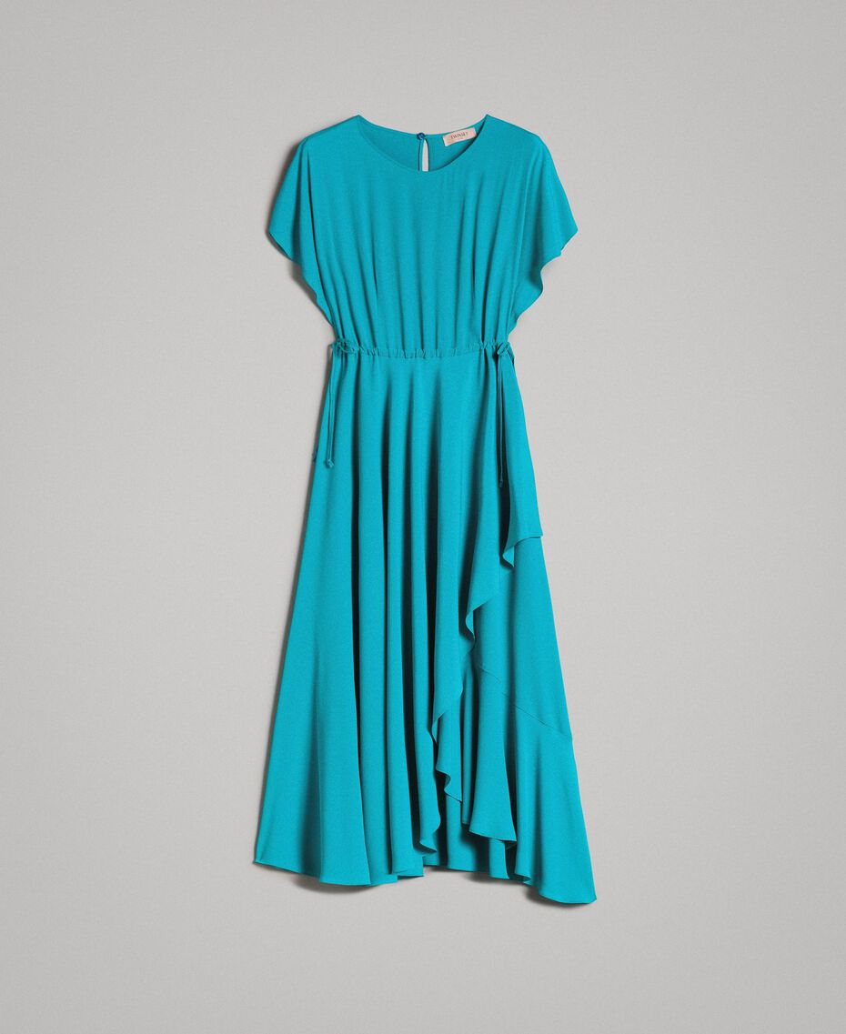 Silk blend long dress Tile Blue Woman 191TT2079-0S