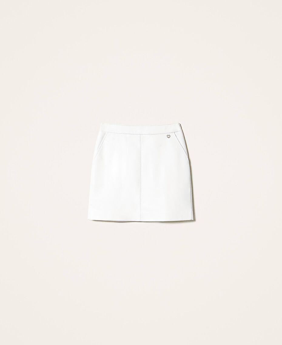 Faux leather mini skirt Creamy White Woman 202MP2093-0S