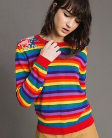 Pullover mit mehrfarbigen Streifen und Blumenapplikationen Regenbogenstreifen Frau 191TP3013-02