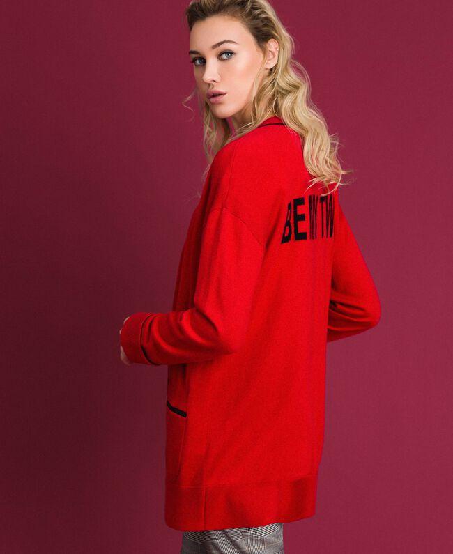 Maxi cardigan avec bords contrastés Rouge Coquelicot / Noir Femme 192MP3051-01