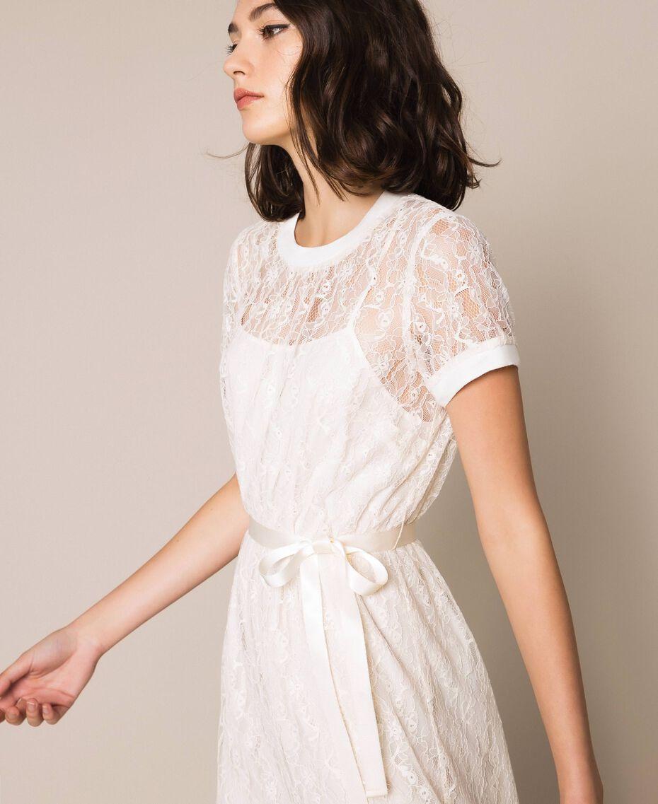 """Длинное кружевное платье с поясом Белый """"Шелк"""" женщина 201ST2151-03"""