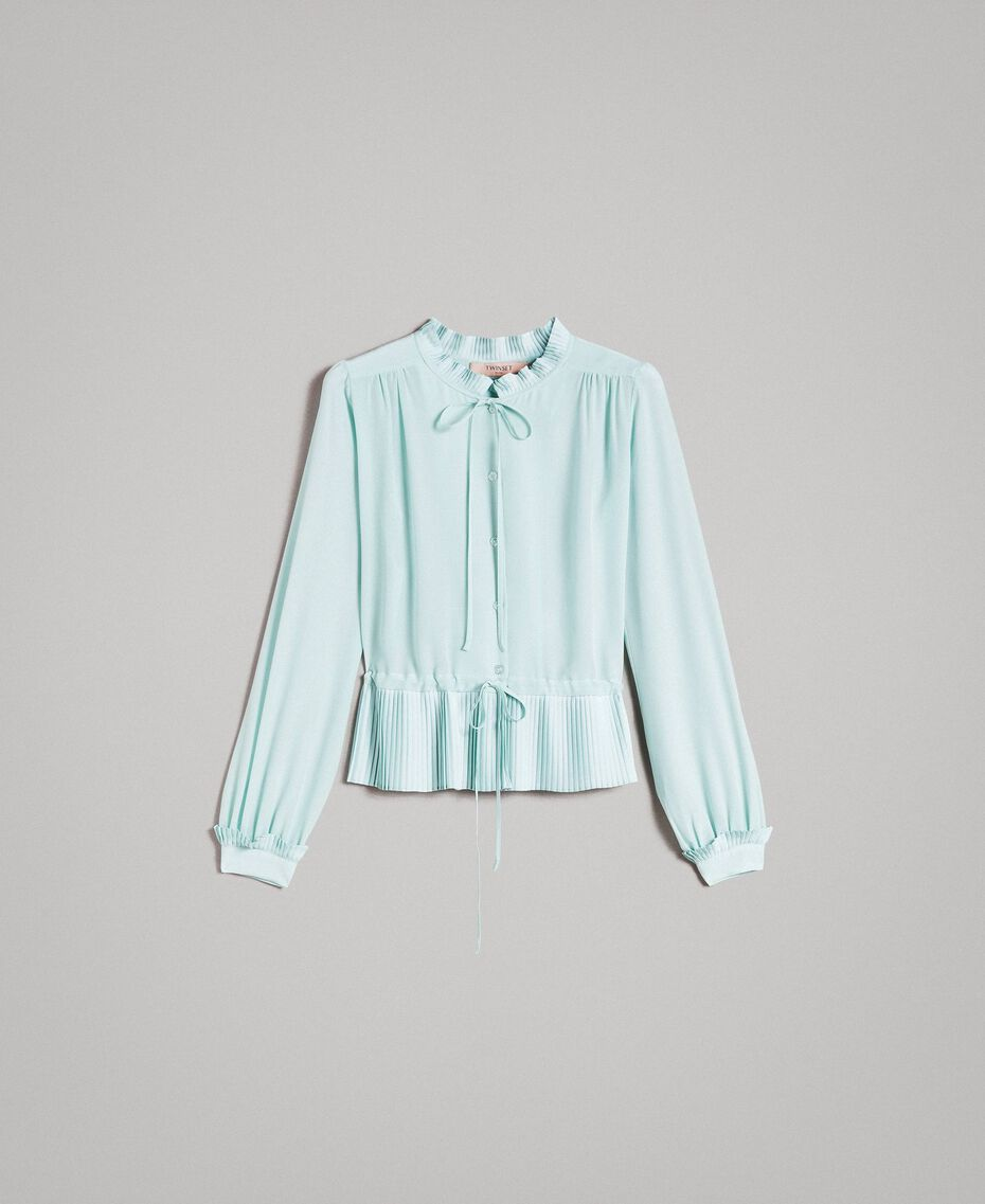 Pleated silk blend shirt Acquamarine Woman 191TP2140-0S