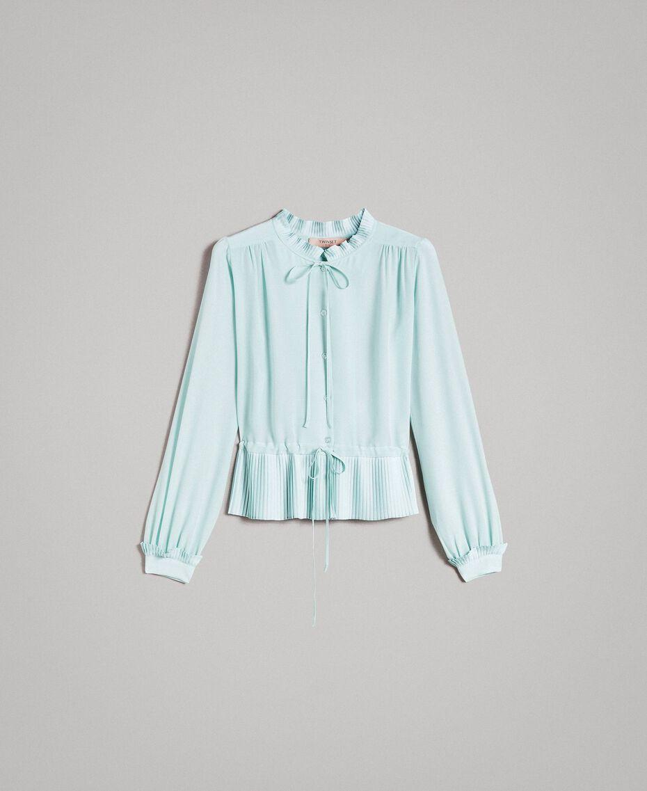 Chemise plissée en soie mélangée Aigue-marine Femme 191TP2140-0S