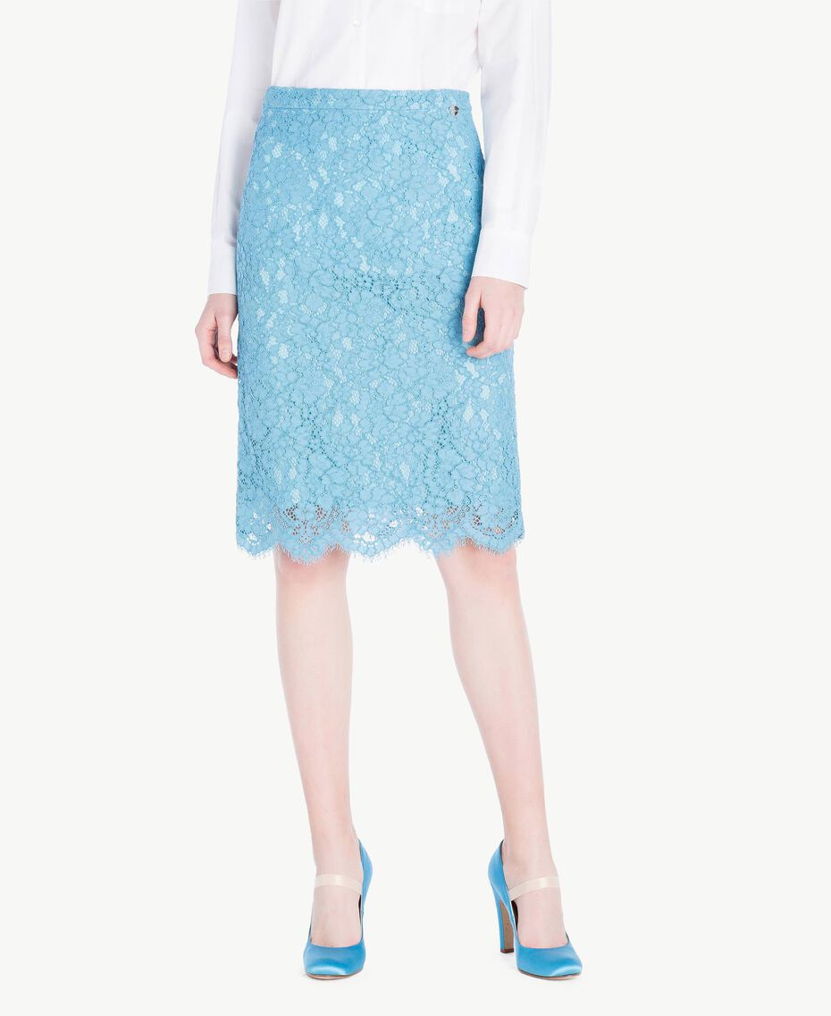 Mid-length lace skirt Oriental Blue Woman PS82XB-01