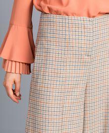 Check flannel palazzo trousers Multicolour Check Woman TA8214-04