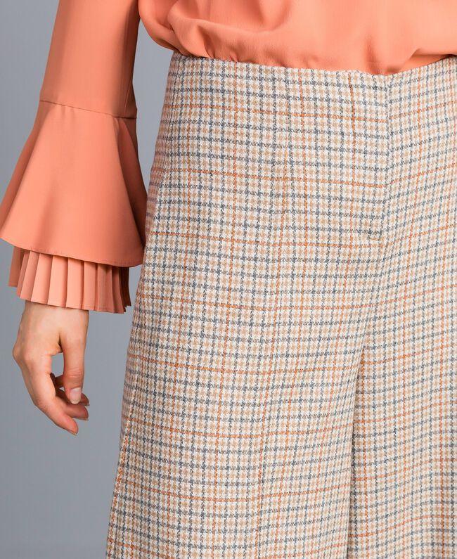 Pantaloni palazzo in flanella check Multicolor Quadri Donna TA8214-04