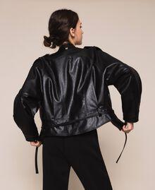 Объемный бомбер из искусственной кожи Черный женщина 201MP2032-01