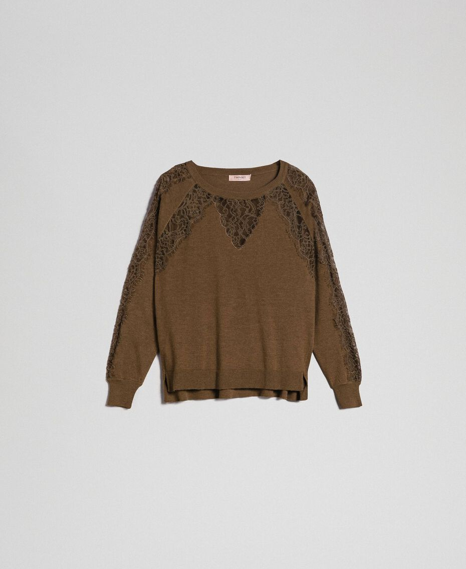 Jumper with lace inlays Beet Red Woman 192TP3172-0S