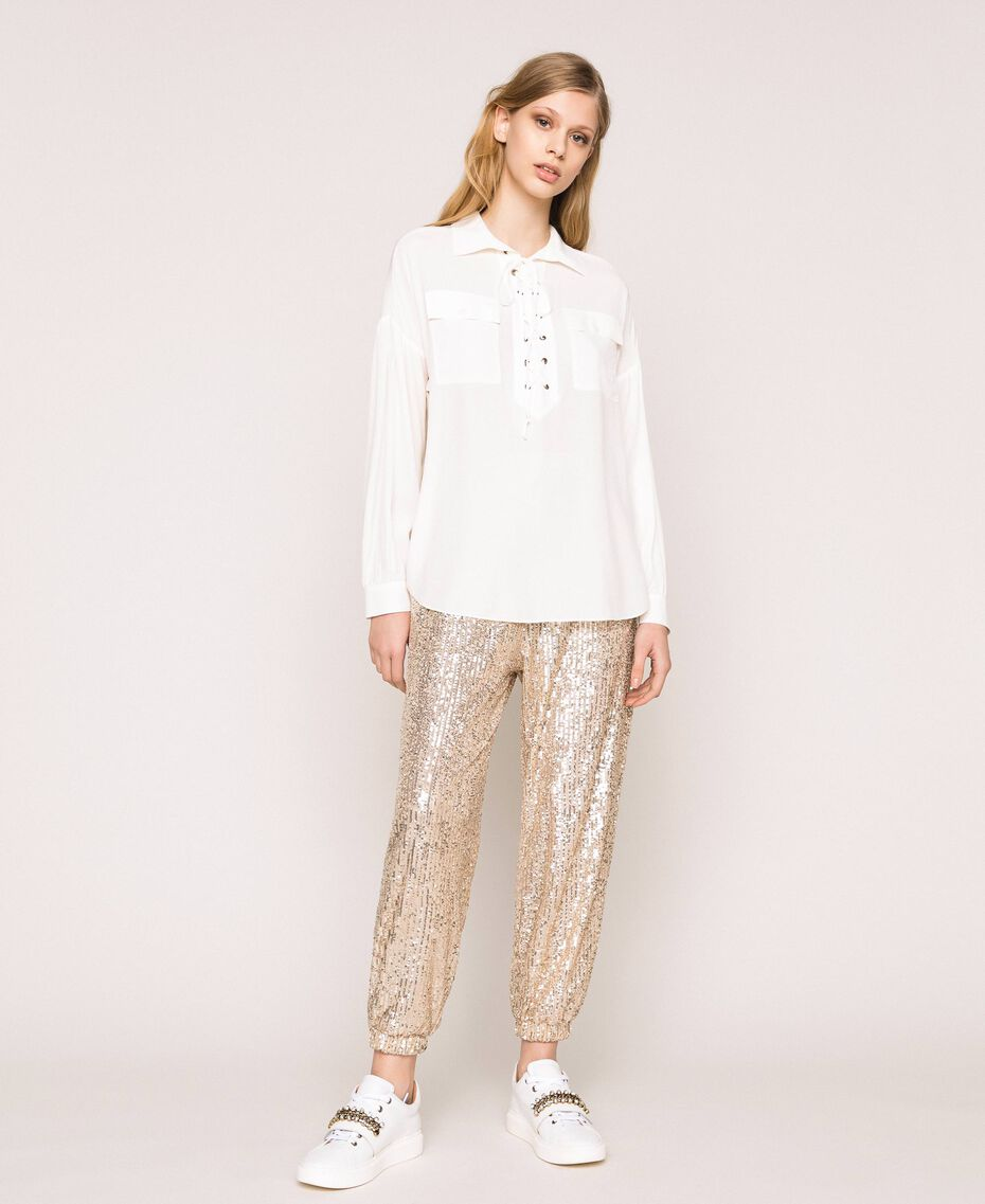 Silk blend top with braided ribbon White Snow Woman 201TP2508-02