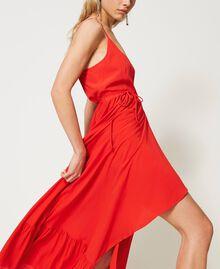 """Long silk blend dress """"Coral"""" Red Woman 211TT2142-03"""