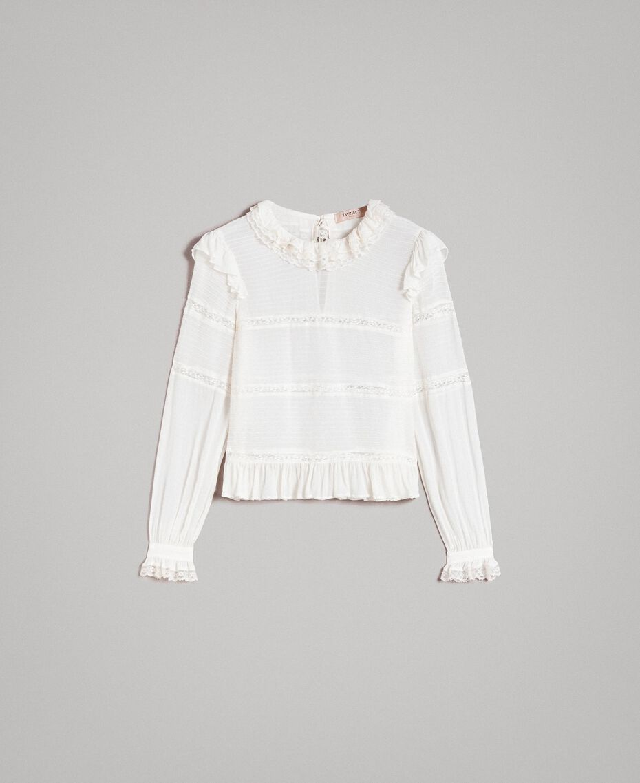 Blouse de georgette et dentelle Blanc Neige Femme 191TP2120-0S