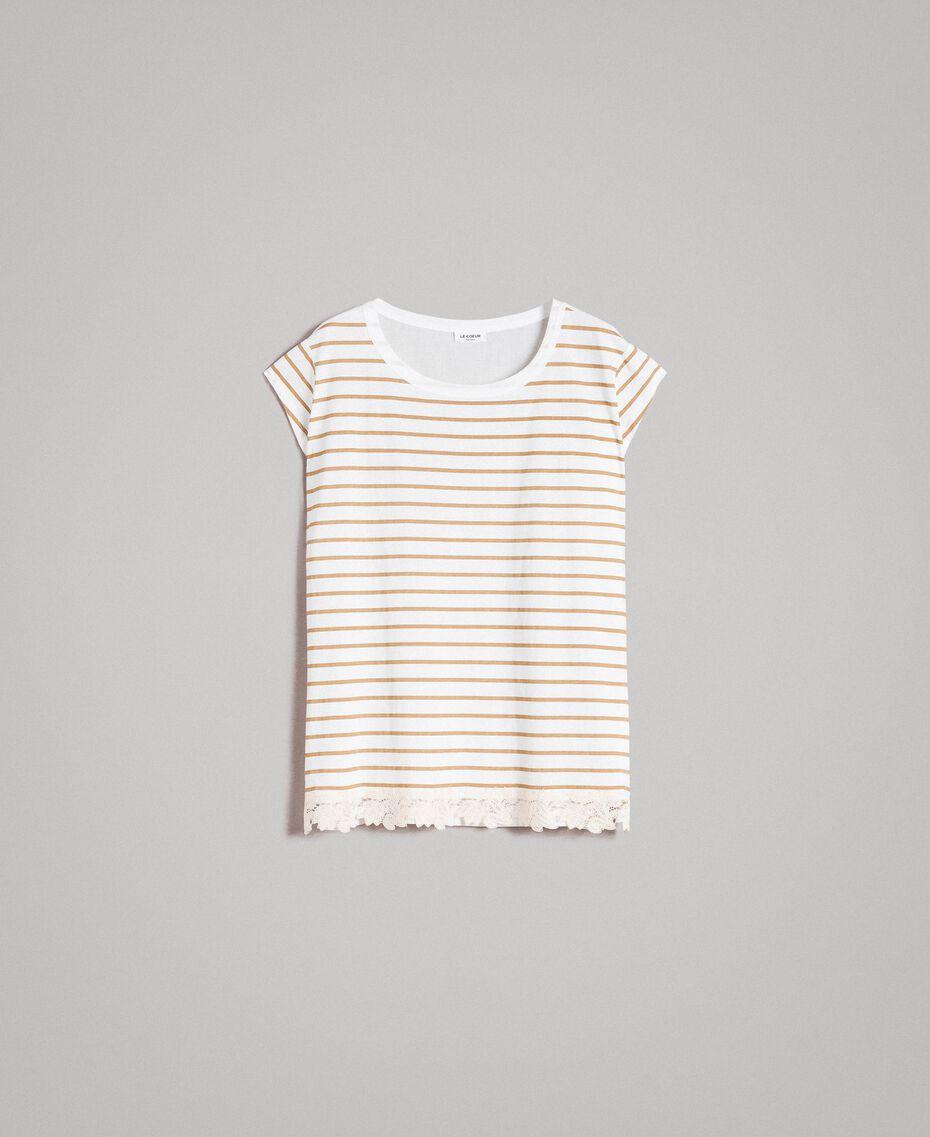 "Striped maxi t-shirt ""Savannah"" Beige / Off White Striped Print Woman 191ST2091-0S"