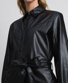 Faux leather long shirt dress Black Woman 192ST2010-04