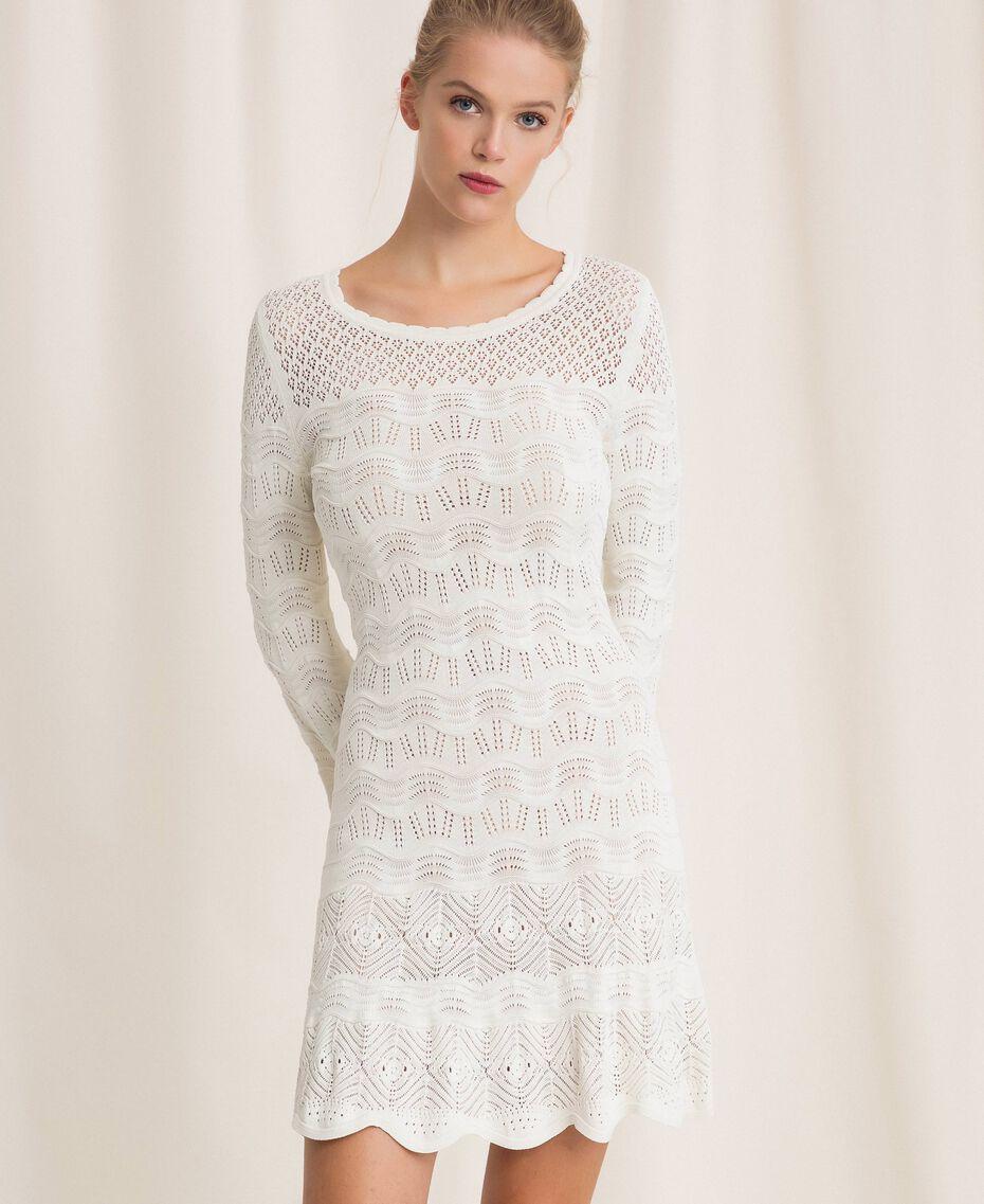 Robe en maille façon dentelle Blanc Neige Femme 201TP3210-03