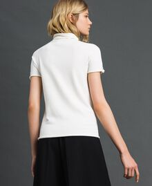 Short sleeve turtleneck with pearl buttons Papyrus White Woman 192TP3242-04
